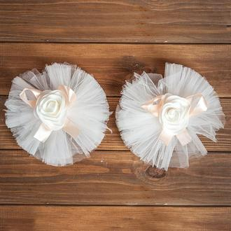 Свадебное украшение на авто для ручек и зеркал персикового цвета 2 шт (арт. ADM-11)