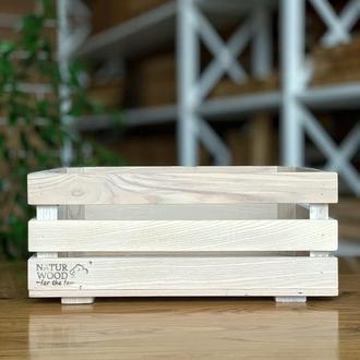 Дерев'яний білий ящик (40х30х17 см)
