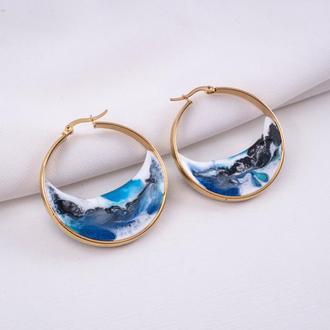 Сережки-кольца с морем внутри