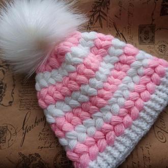 Теплая шапка на флисе для девочки