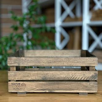 Темный деревянный ящик ( 40 х 30 х 17 см)