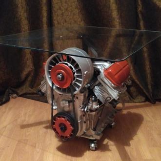 Эксклюзивный журнальный столик из двигателя. Стол из двигателя,макет