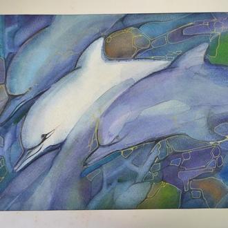 Оригинальная живопись. Акварель Винтаж. Дельфины