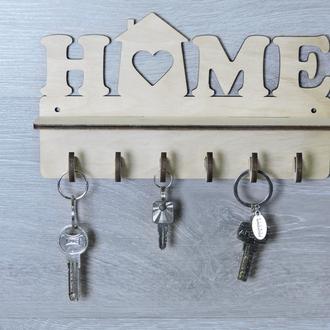 Ключница настенная в прихожую из фанеры для ключей «Home» горизонтальная (2257)