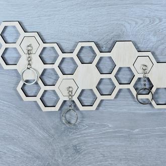 Ключница настенная декоративная из фанеры для ключей с брелоками (2259)