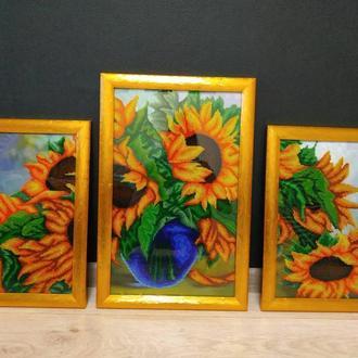 Триптих (три картины) Подсолнухи