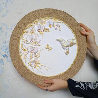 "Картина, декоративное панно ""золотые орхидеи"", подарок на юбилей"