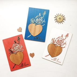 "Объёмная деревянная открытка  «With love """