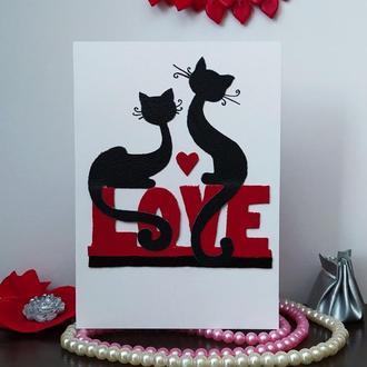 Эксклюзивная открытка валентинка с декором из кожи