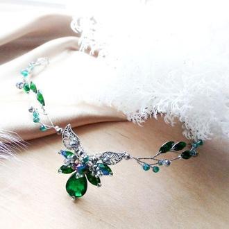 Эльфийский лотос зелёный - налобное украшение, веночек, ободок,обруч гибкий, диадема