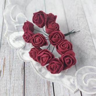 Декоративные розы из фоамирана бордо .12шт