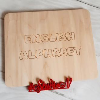 Английский алфавит с гравировкой в упаковке 35Х29 см