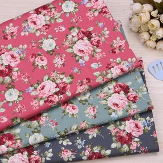 Набор хлопковой ткани для рукоделия Винтажные розы 3шт