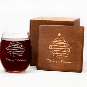Винный стакан с рождественской гравировкой «Merry Christmas»