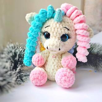 Іграшка дитяча в'язана Единорожка Кучерик Ліззі