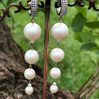 """Дизайнерські сережки з перлами Swarovski """"moonlight """"💭⚪"""