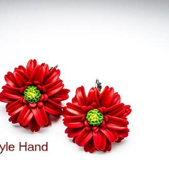 Серьги гербера из полимерной глины, украшения из полимерной глины, серьги красные цветы
