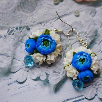 серьги голубые пионы , голубые пионы из полимерной глины , серьги пионы