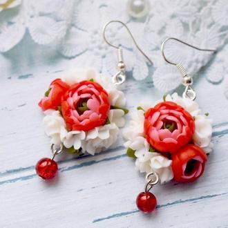 серьги красные пионы , пионы из полимерной глины , серьги красные цветы, серьги пионы из полимерной