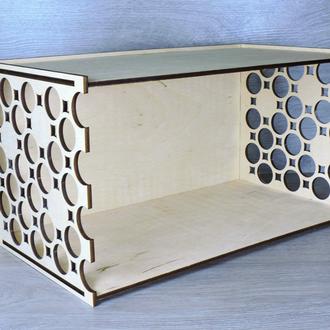 Полка декоративная деревянная горизонтальная 40х21х21,5 см (2282)