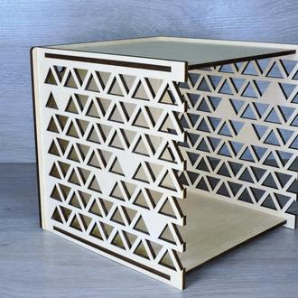 Декоративные настенные полки из фанеры квадратной формы 21х21х21,5 см (2283)