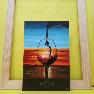 """Картина маслом """"Бокал Вина на Закате""""  Подарок"""