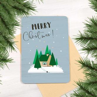 Деревянная открытка в подарок на Рождество