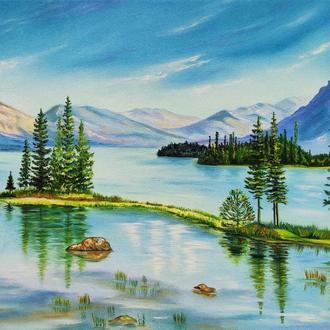 """Картина маслом """"Канада"""", холст 40х50 см. Пейзаж."""