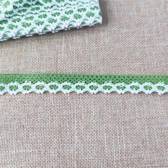 Кружево хлопок 2 см бело-зеленое( 1 м/п )