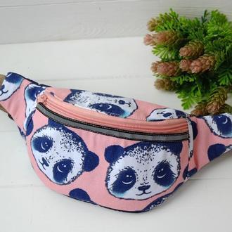 Сумка-бананка с пандами розовая, поясная сумка, нагрудная сумка 51(1)