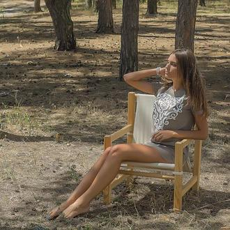 Кресло из массива сосны и хлопка