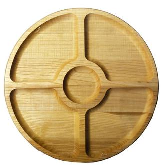 Менажница деревянная круглая на 5 отделений Ø30 см