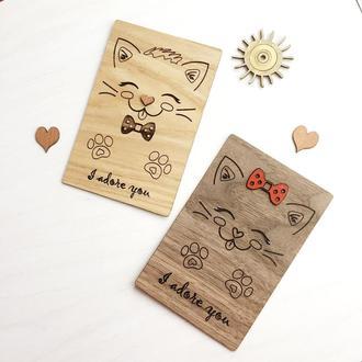 Милая открытка из дерева «Он и Она»