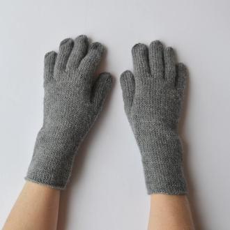 Высокие женские перчатки из мериноса. Тонкие серые перчатки