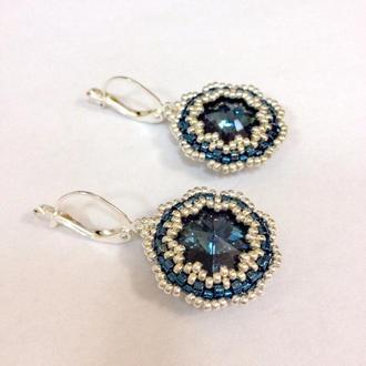 Синие серебряные серьги Swarovski Montana, серьги из серебряного бисера и кристаллов Сваровски