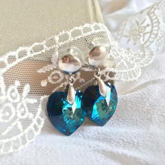 Серебряные серьги гвоздки голубые сердца Swarovski
