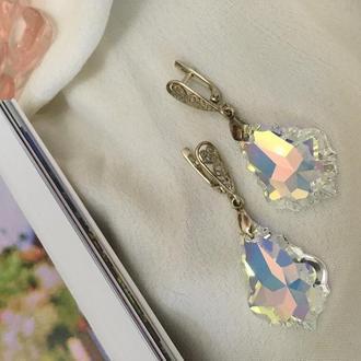 Серебряные свадебные серьги кружевные кристаллы капли Swarovski цвета северное сияние