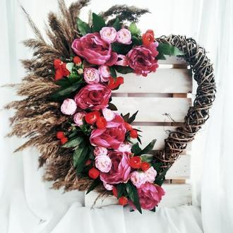 Венок сердце, бохо-декор, венок на день всех влюбленных, венок с цветами, весенний венок