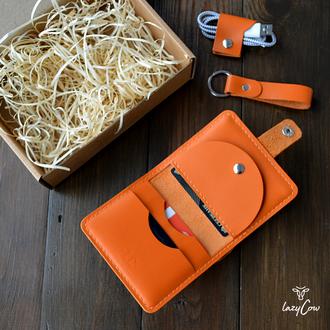 Мужской кошелек с отделением для монет из натуральной кожи оранжевого цвета