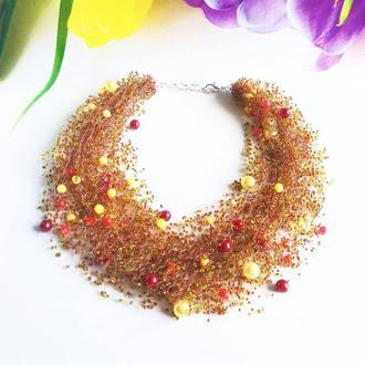 Воздушное колье коричневых оттенков Стильное ожерелье на подарок