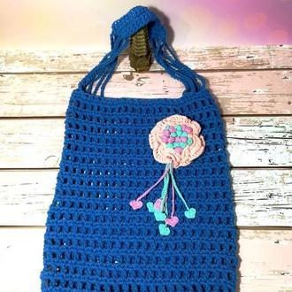 Сумка шоппер синяя с цветком, эко сумка плетенная, городская сумка для покупок, размер 35*40