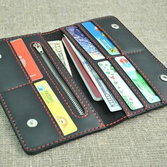 Черный кожаный кошелек K27-0+red