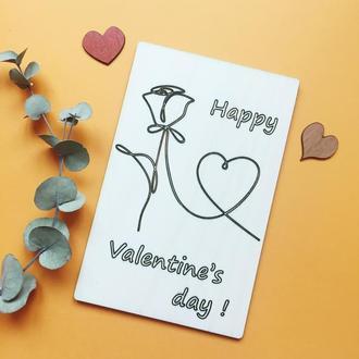 Оригинальная деревянная открытка Валентинка