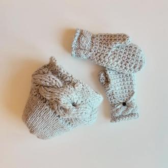 Шапка и варежки серый вязаный теплый комплект