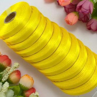 Стрічка атласна жовта 0,6 см (23 метри)