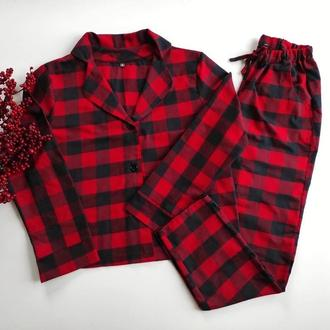 Пижама рубашка и штаны в красную клетку