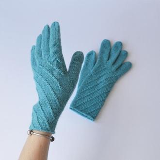 Жіночі рукавички з вовни та альпаки. В'язані рукавички