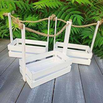 Деревянная корзина, кашпо белого цвета для подарочных композиций, 26*15*30 см