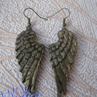 Серьги с крыльями, холодный фарфор