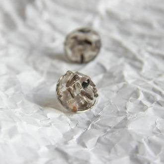 Прозорі сережки з моріоном та раухтопазом - прозрачные серьги с морионом - дымчатый кварц
